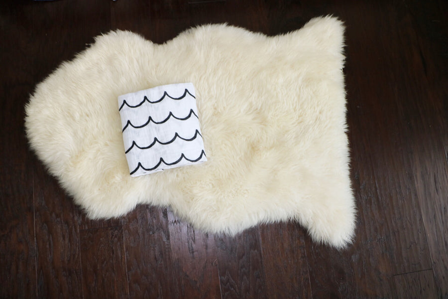 *JUST RESTOCKED* Organic Cotton Muslin Swaddle Blanket -  Waves