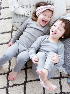 Load image into Gallery viewer, FINAL SALE - Organic Pajama Set -  NEUTRAL GRAY