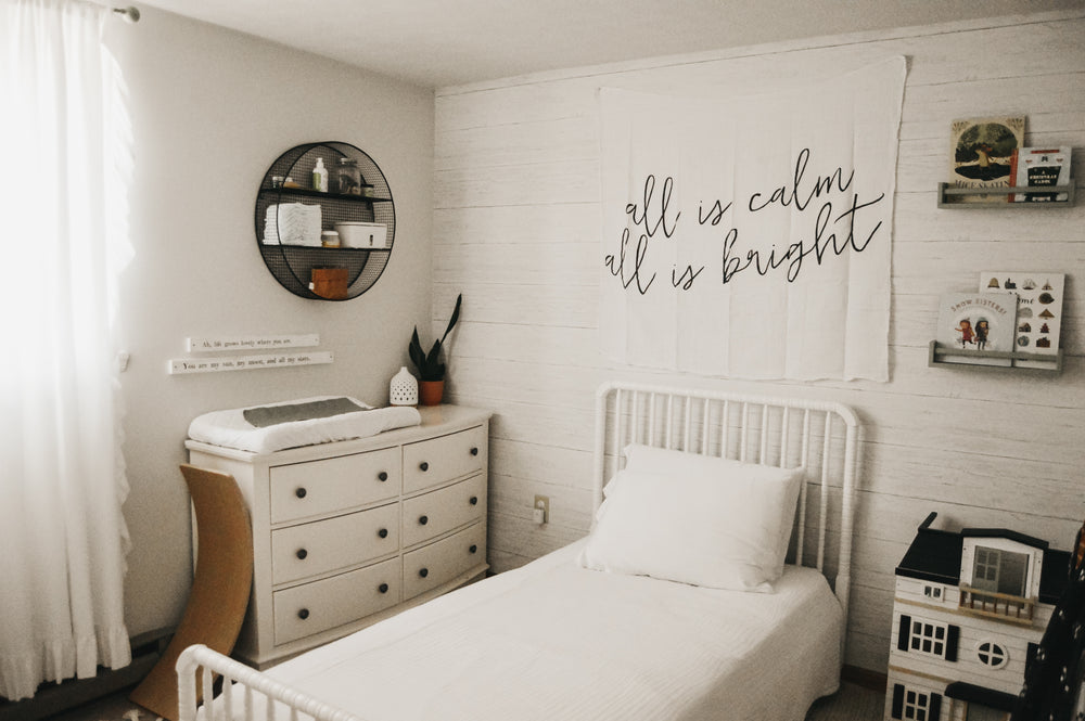 Load image into Gallery viewer, Organic Cotton Muslin Swaddle Blanket + Wall Art -  All is calm all is bright