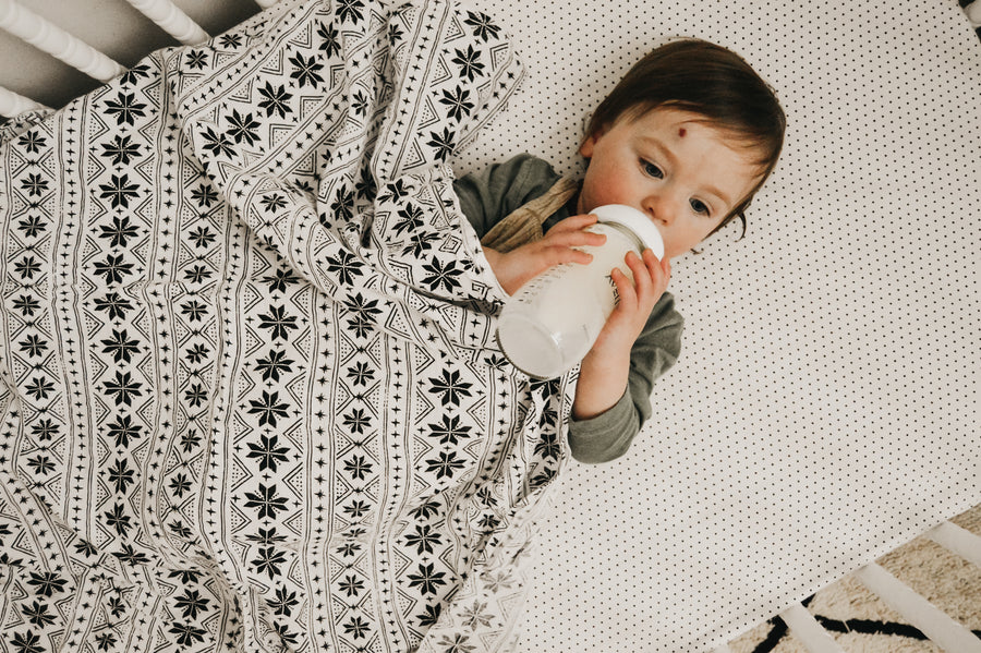 Organic Cotton Muslin Swaddle Blanket -  Nordic Winter ©
