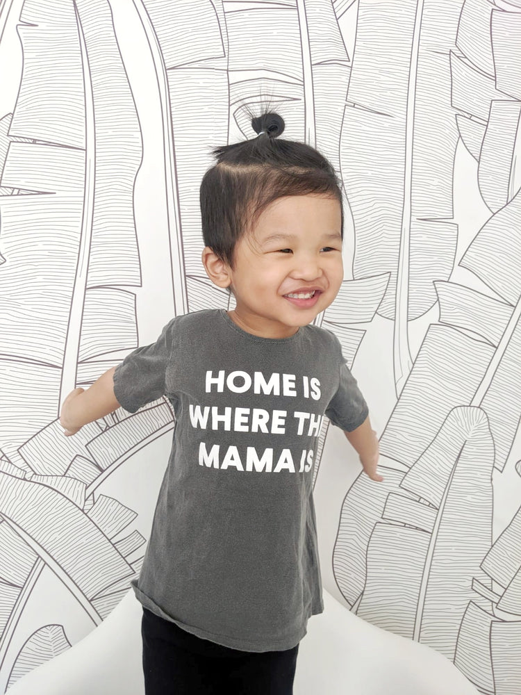 Home is where the mama is Kids Scoop Neck Tee -  Charcoal