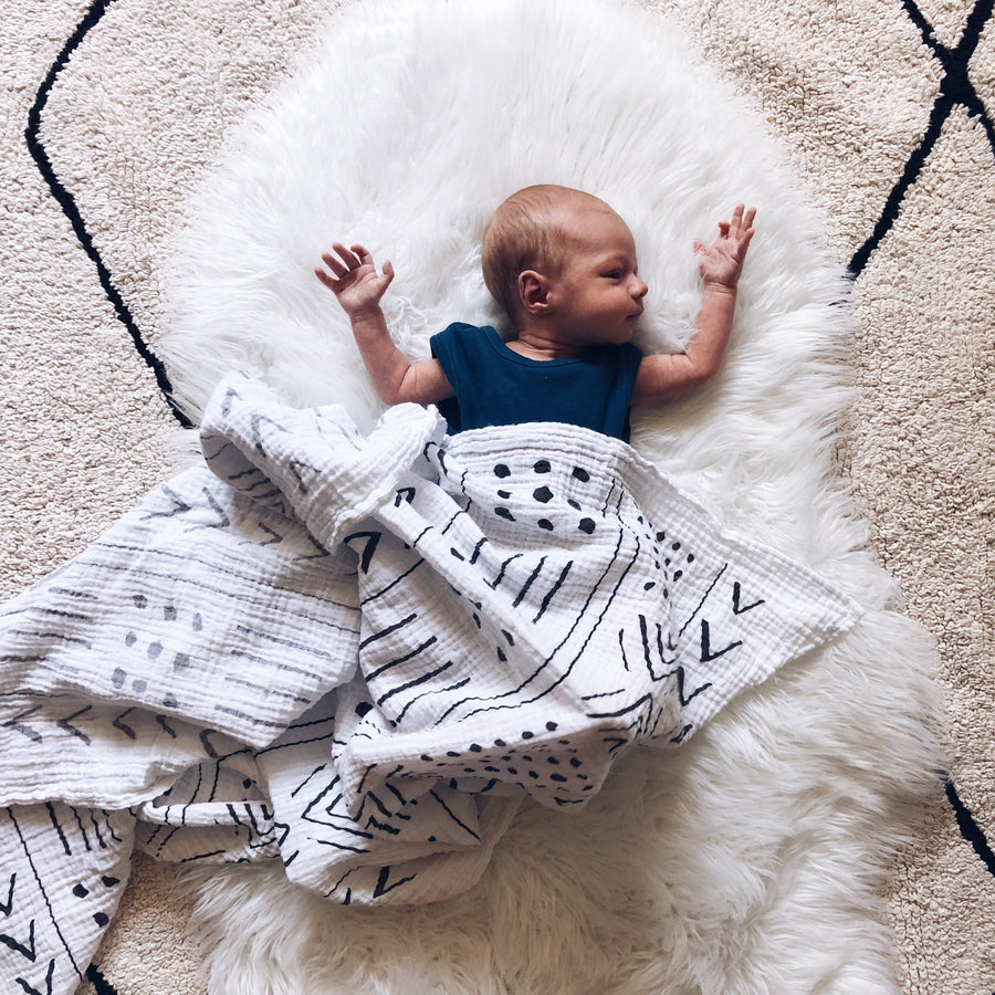 Organic Cotton Organic Cotton Muslin Swaddle -  Mud Cloth ©