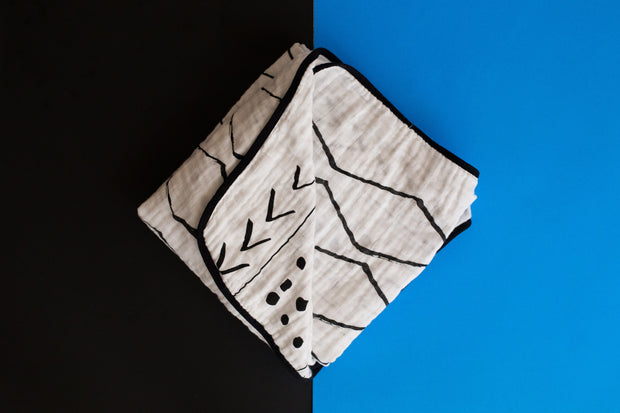 4 Layer  Organic Cotton Muslin Quilt -  REVERSIBLE Mud Cloth © + Moroccan 1