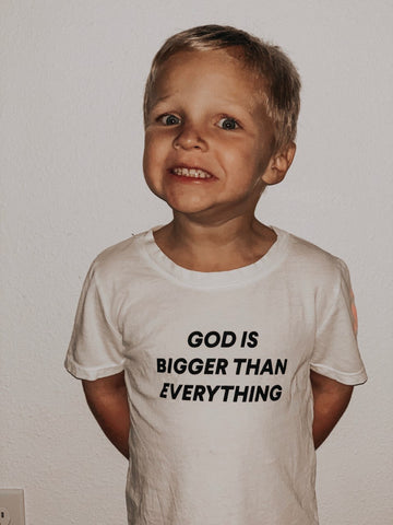 God is bigger than everything Kid's Crewneck Tee