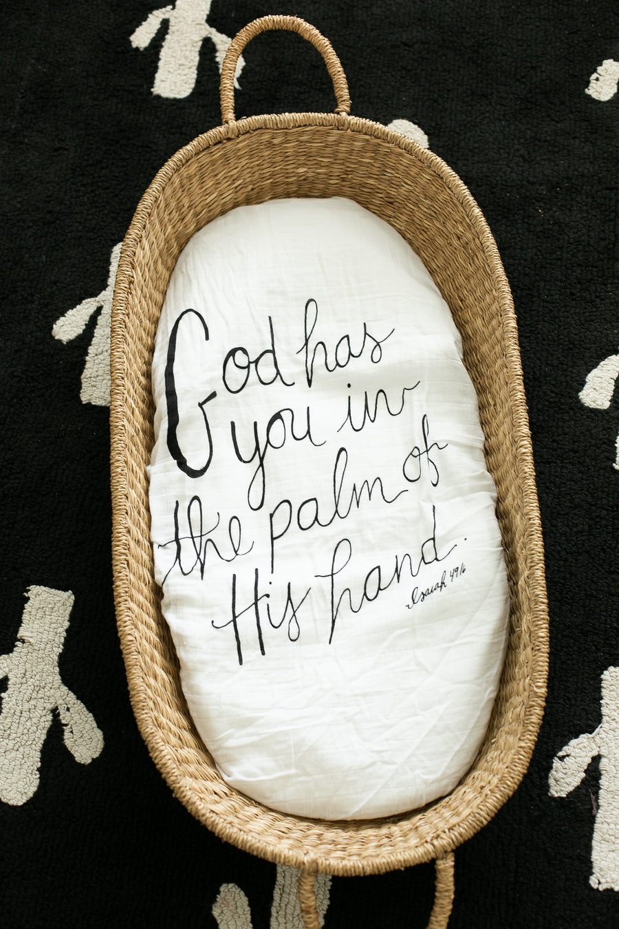 Versatile Moses Basket / Bassinet / Small Changing Pad Sheet -  Isaiah 49:16 (God has you in the palm of His hand)