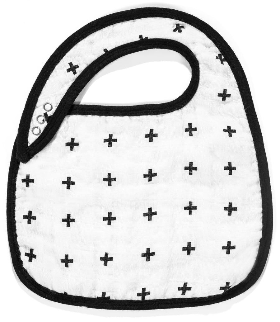 Organic cotton muslin bib -  Swiss Cross