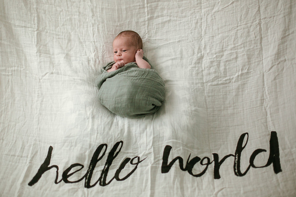 *IMPERFECT* Organic Cotton Muslin Swaddle Blanket + Wall Art -   Hello World