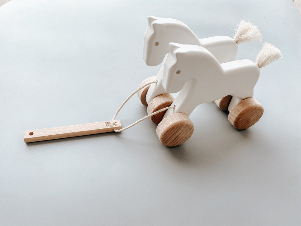 Load image into Gallery viewer, Little Poland Gallery - Bajo Wooden Jumping Horses, Pull toy 18 months + - White