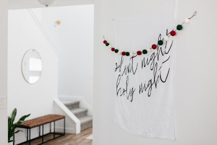 Organic Cotton Muslin Swaddle Blanket + Wall Art -  Silent night holy night