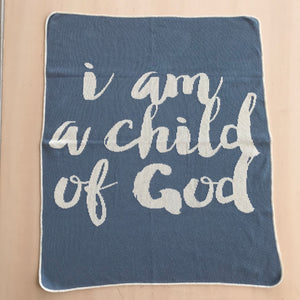 Load image into Gallery viewer, *NEW* Made in the USA | Recycled Cotton Blend  I am a child of God Throw Blanket | Pacific Blue