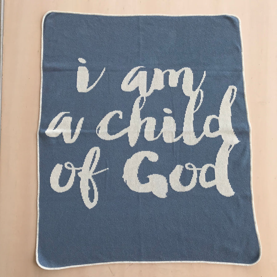 *NEW* Made in the USA | Recycled Cotton Blend  I am a child of God Throw Blanket | Pacific Blue