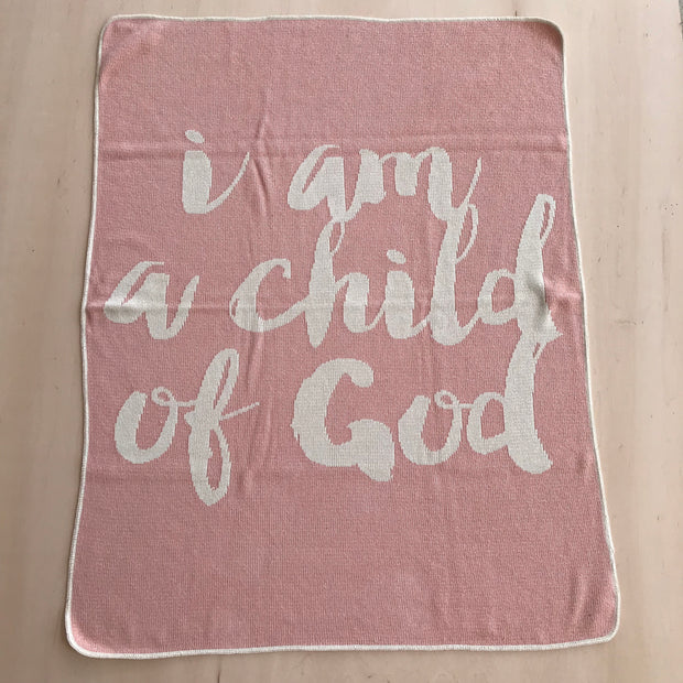 Made in the USA   Recycled Cotton Blend  I am a child of God Throw Blanket   Cameo Pink 1