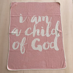Load image into Gallery viewer, *NEW* Made in the USA | Recycled Cotton Blend  I am a child of God Throw Blanket | Cameo Pink