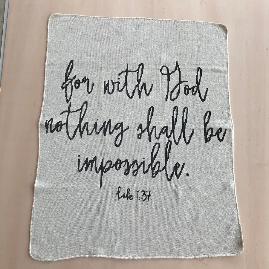 PREORDER Made in the USA | Recycled Cotton Blend  Luke 1:37  Throw Blanket | Natural