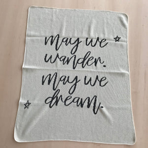 Load image into Gallery viewer, ONE OF A KIND Made in the USA | Recycled Cotton Blend  May We Wander May You Dream Throw Blanket | Natural