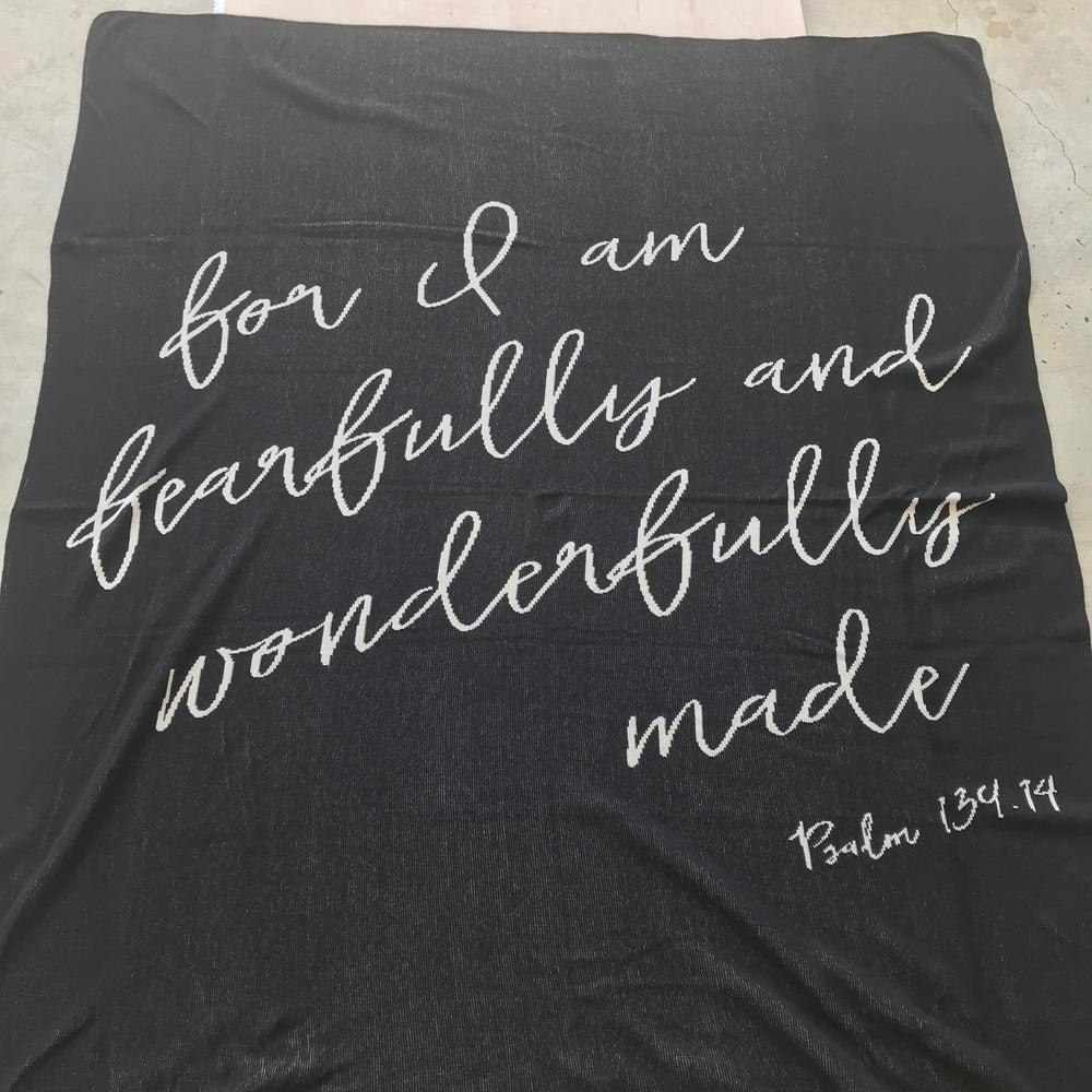 Load image into Gallery viewer, Made in the USA | Recycled Cotton Blend  Fearfully and Wonderfully Made Throw Blanket | Black
