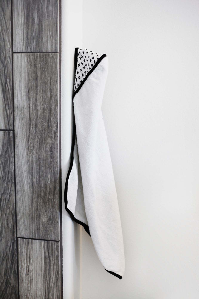 Load image into Gallery viewer, Organic Cotton Muslin + Terry Hooded Towel -  XO