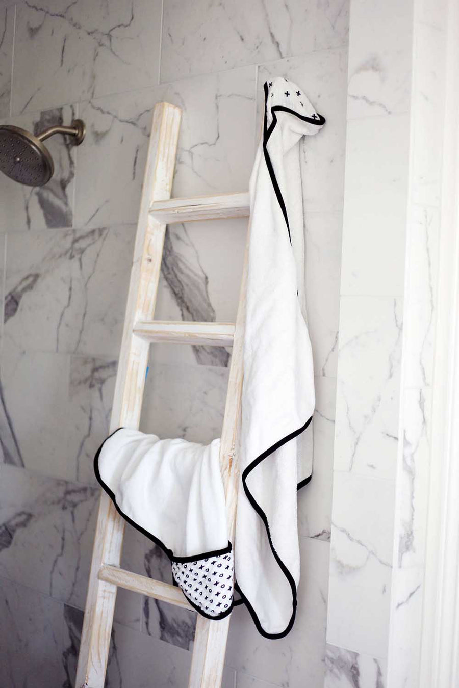 Organic Cotton Muslin + Terry Hooded Towel -  Swiss Cross