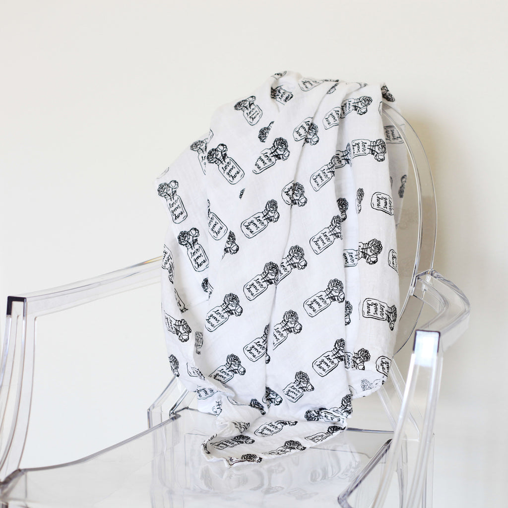 Organic Cotton Muslin Swaddle Blanket -  Peonies (Love Grows Here)
