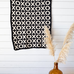 Made in the USA | Recycled Cotton Blend  XO Throw Blanket | Black - New Design