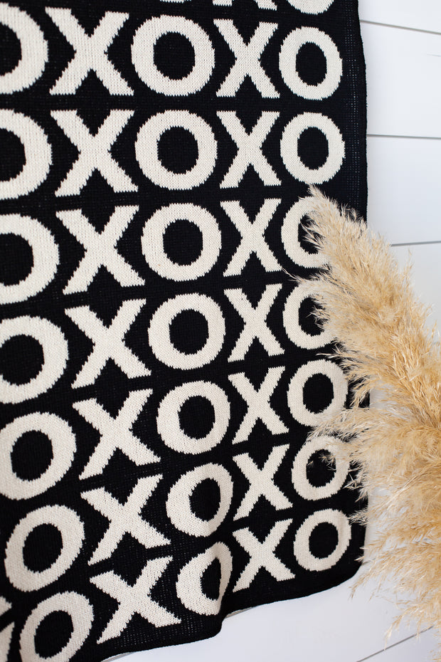 Made in the USA   Recycled Cotton Blend  XO Throw Blanket   Black - New Design 1