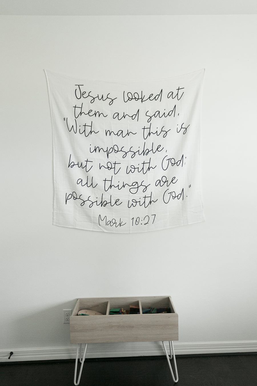 "*NEW* Organic Cotton Muslin Swaddle Blanket + Wall Art -  Jesus looked at them and said, ""With man this is impossible, but not with God; all things are possible with God."" Mark 10:27"