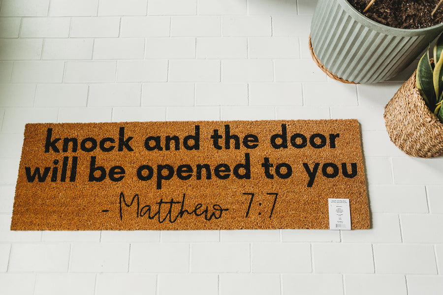 XL Scripture Doormat | Matthew 7:7