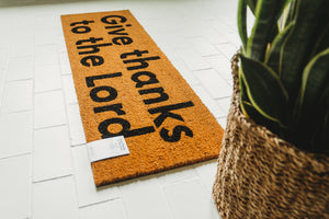 Load image into Gallery viewer, XL Scripture Doormat | Give thanks to the Lord