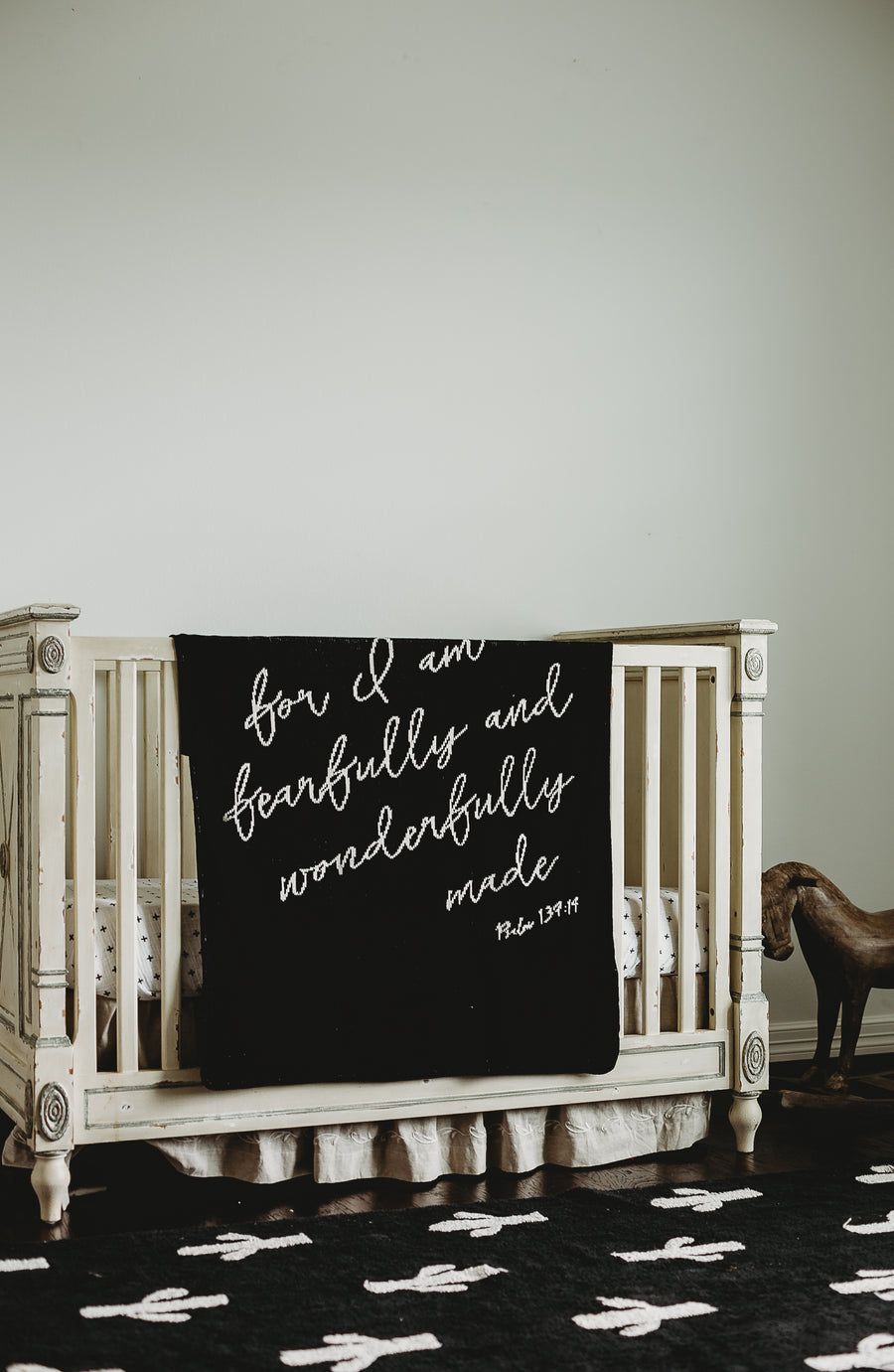 *NEW* Made in the USA | Recycled Cotton Blend  Fearfully and Wonderfully Made Throw Blanket | Black