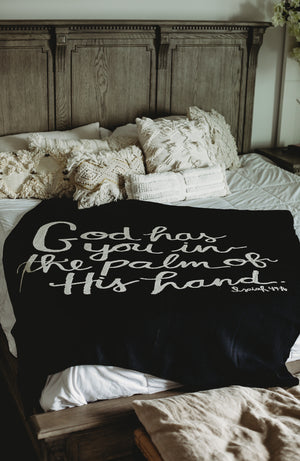 Load image into Gallery viewer, Made in the USA | Recycled Cotton Blend God Has You Throw Blanket | Black