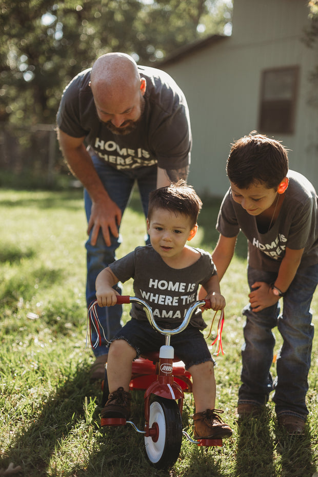 Home is where the mama is Kids Scoop Neck Tee -  Charcoal 1