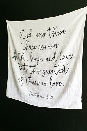 Load image into Gallery viewer, *NEW* Organic Cotton Muslin Swaddle Blanket -  1 Corinthians 13:13