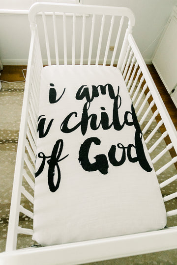 *IMPERFECT* Organic Crib Sheet -  I am a child of God