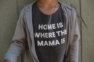 Load image into Gallery viewer, Home is where the mama is Kids Scoop Neck Tee -  Charcoal