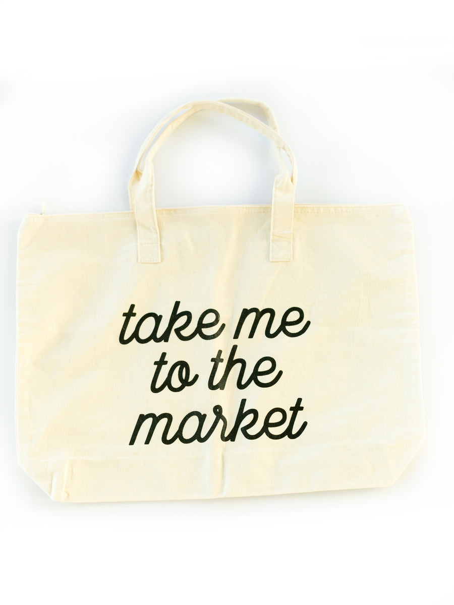 Take Me to the Market - Large Zip Tote