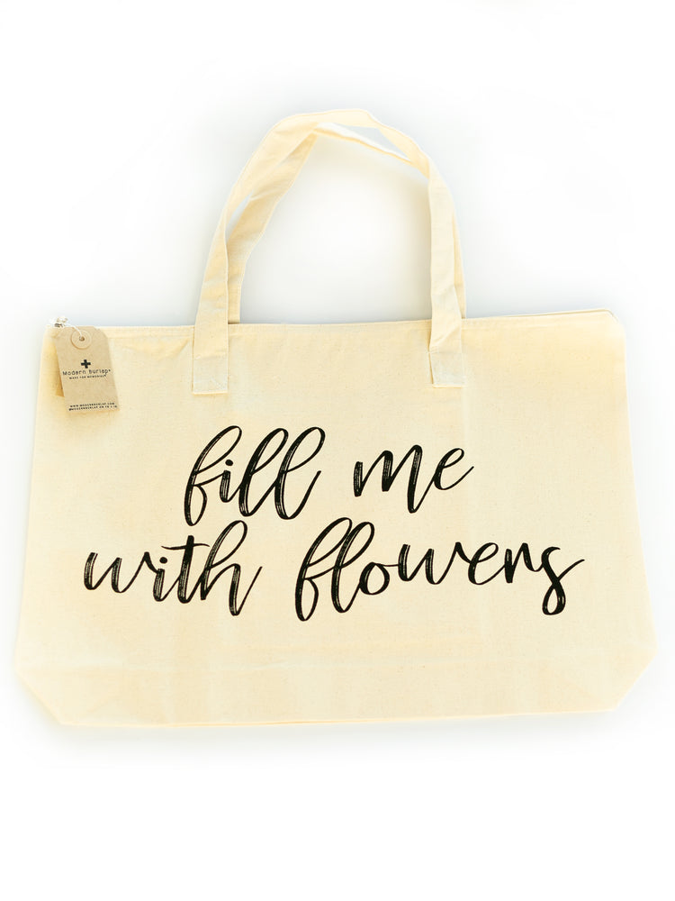 Fill Me with Flowers - Large Zip Tote