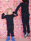 Baby + Child Organic Thermal Pajama Set - WHITE ON BLACK SWISS CROSS