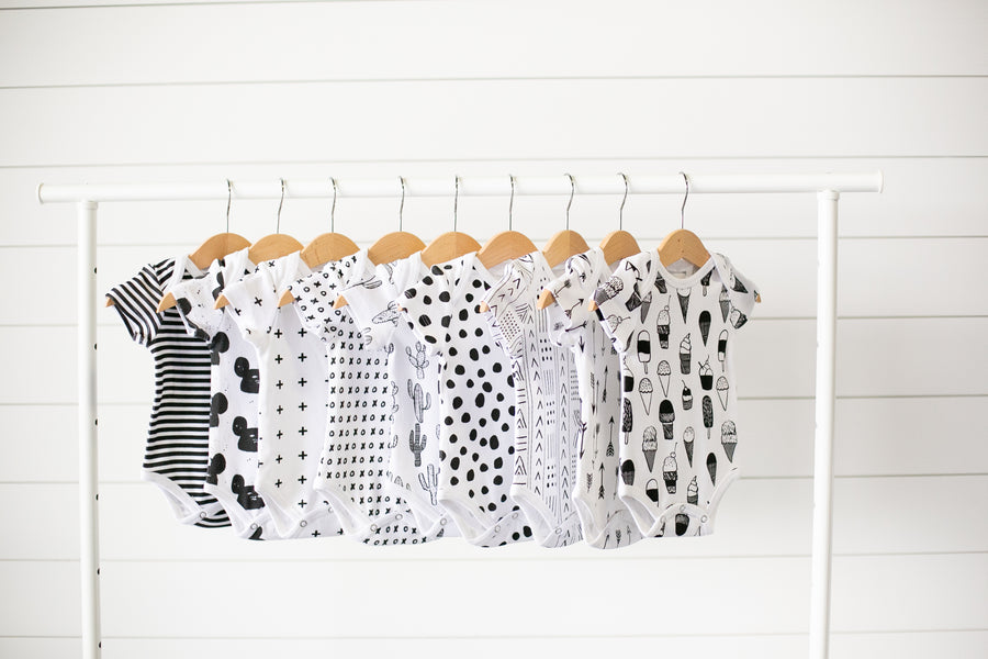 Organic Short Sleeve Bodysuit -  Prints