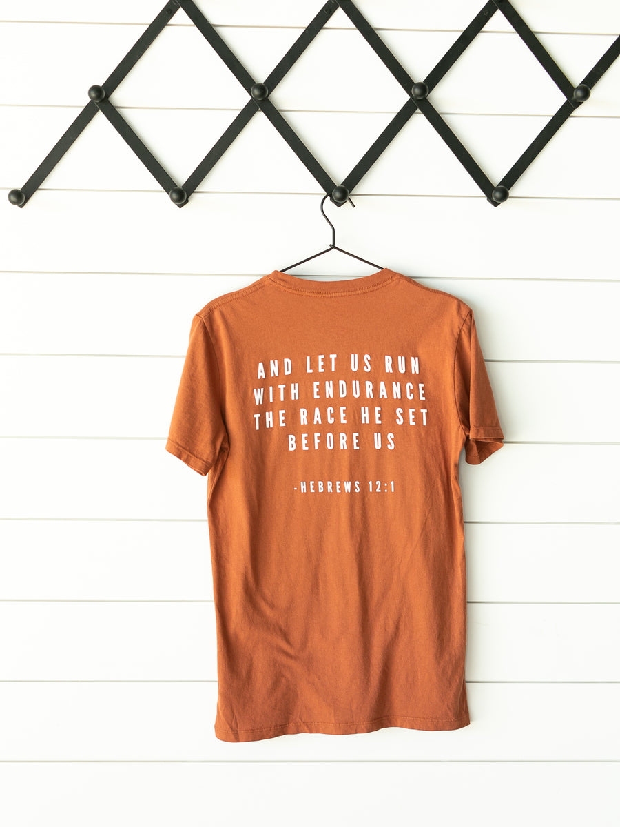 Made in the USA | Hebrews 12:1 Unisex S/S Crewneck Tee - Sunburn