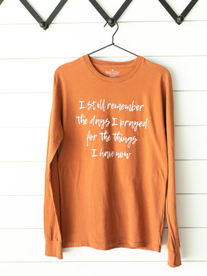 Load image into Gallery viewer, Made in the USA | I still remember the days I prayed for the things I have now Unisex L/S Crewneck Tee - Sunburn