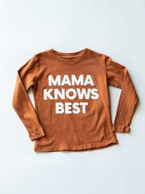 Load image into Gallery viewer, Made in the USA | Mama Knows Best Kid L/S Crewneck Tee - Sunburn