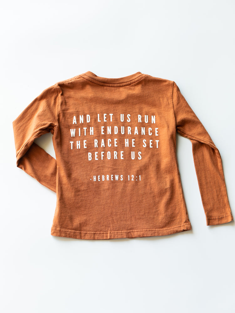 Load image into Gallery viewer, Made in the USA | Hebrews 12:1 Kid L/S Crewneck Tee - Sunburn