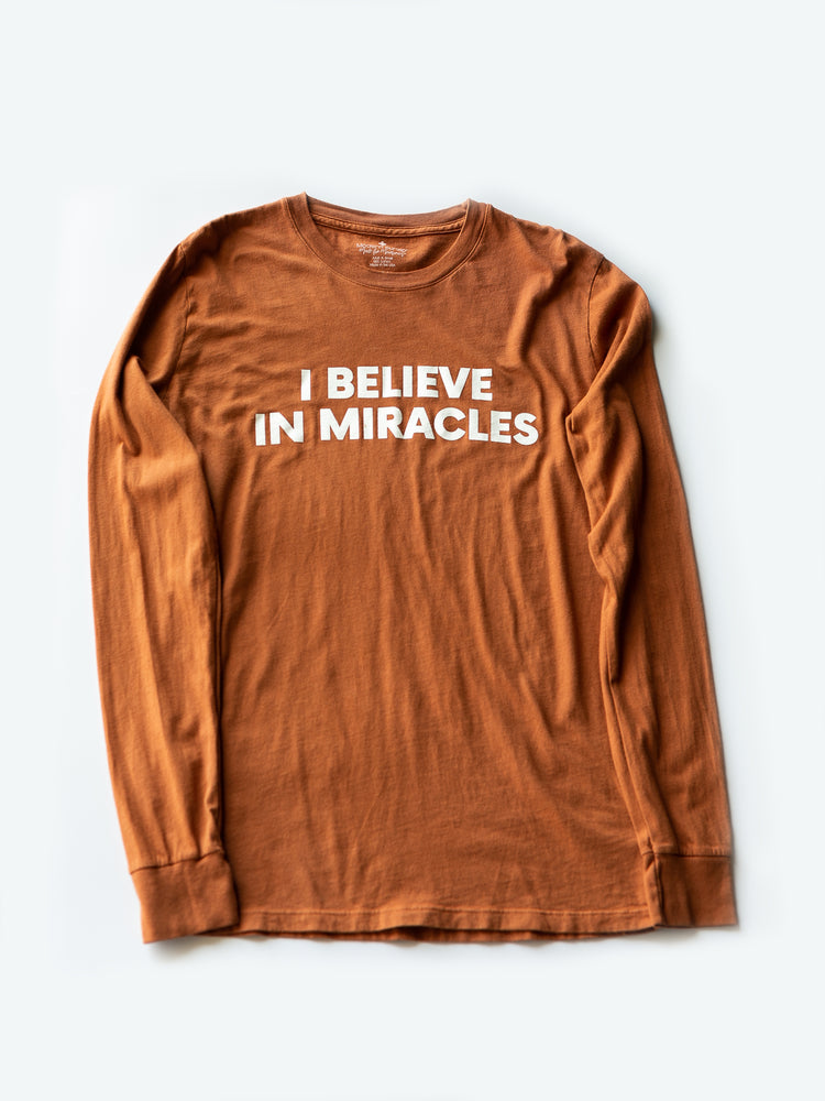 Made in the USA TEE FOR A CAUSE | I believe in miracles Unisex L/S Crewneck Tee - Sunburn