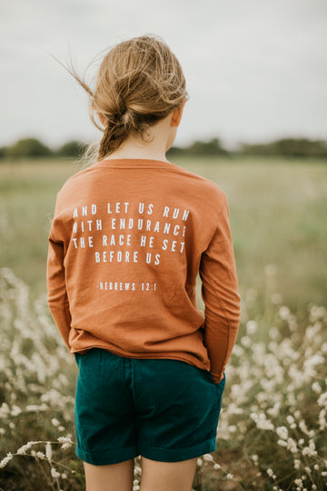 Made in the USA | Hebrews 12:1 Kid L/S Crewneck Tee - Sunburn