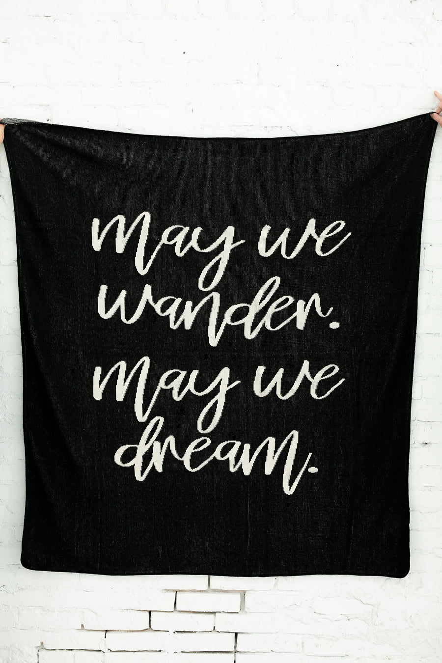 *NEW* Made in the USA | Recycled Cotton Blend  May We Wander May You Dream Throw Blanket | Black