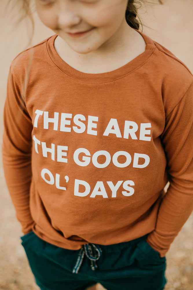 Load image into Gallery viewer, Made in the USA | These Are The Good Ol' Days Kid L/S Crewneck Tee - Sunburn