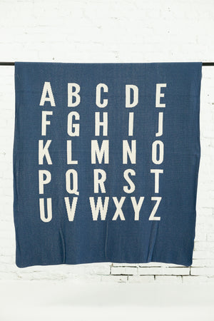 Load image into Gallery viewer, Made in the USA | Recycled Cotton Blend  ABC Throw Blanket | Slate