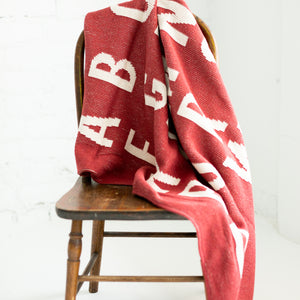 Made in the USA | Recycled Cotton Blend  ABC Throw Blanket | Rust Red