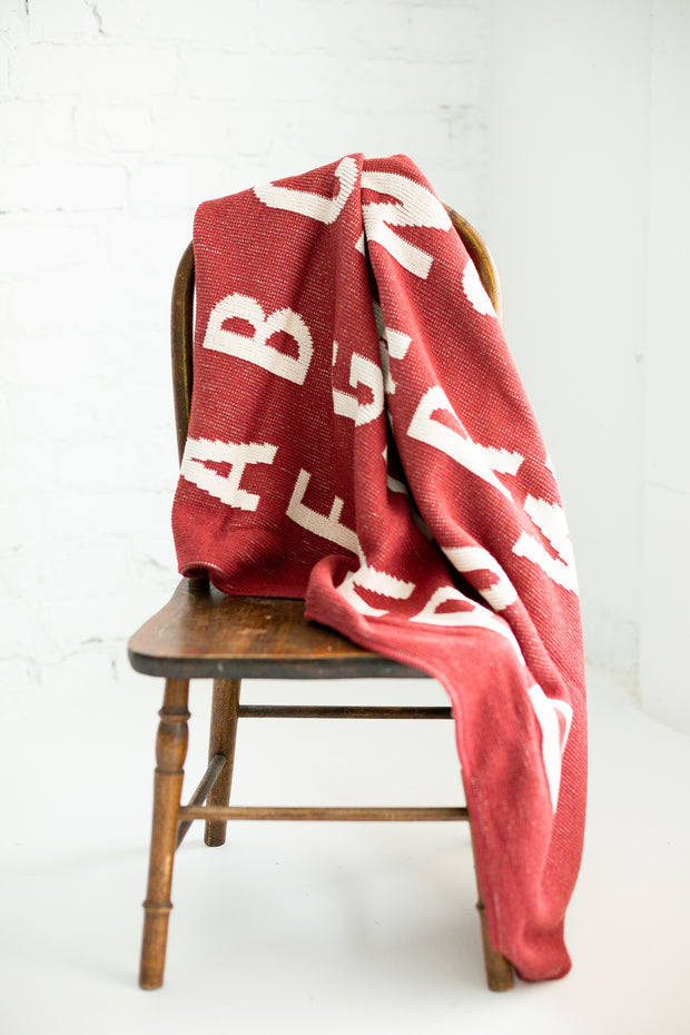 Made in the USA | Recycled Cotton Blend  ABC Throw Blanket | Rust Red 1