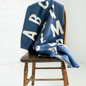 Made in the USA | Recycled Cotton Blend  ABC Throw Blanket | Slate